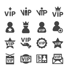 vip icon set vector image