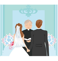 wedding couple and the priest vector image