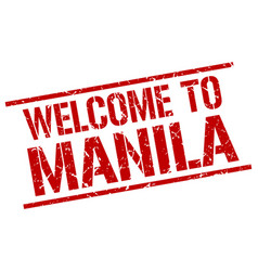 Welcome to manila stamp vector