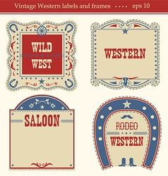 western labels symbols and boards isolated vector image