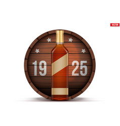 Whiskey bottle and wooden barrel vector