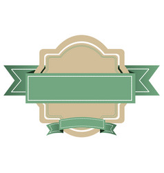 White emblem with green ribbon icon vector