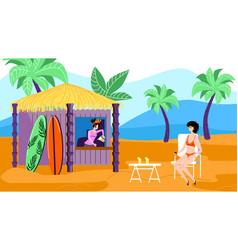 Woman in bikini sitting at cafe on exotic beach vector