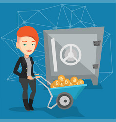 Woman keeping bitcoins in the crypto cold wallet vector