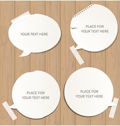 Wooden background with speech bubbles vector