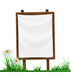 Wooden sign with white banner isolated on white vector
