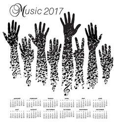 A creative 2017 musical calendar made with hands vector image