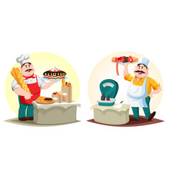 Butcher with meat and baker with bun and bread vector