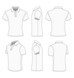 Mens white short sleeve polo shirt vector image vector image