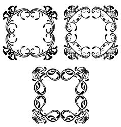 Set of vintage floral frames vector image vector image