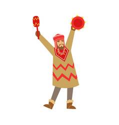 shaman character in national clothes dancing with vector image vector image
