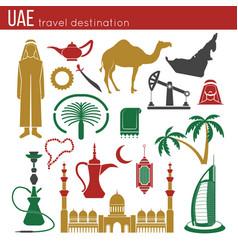 uae travel concept map flat icons design vector image