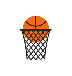 basketball ball in ring emblem sports logo vector image