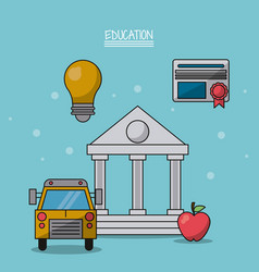 colorful poster of education with parthenon in vector image vector image
