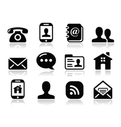Contact black icons set - mobile user smartphone vector image vector image