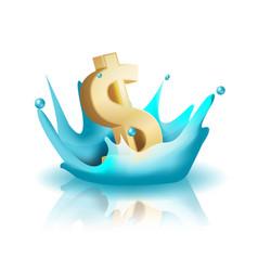 Currency water splash gold dollar vector