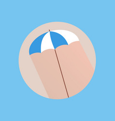 Flat style with long shadows beach umbrella icon vector