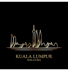 Gold silhouette of Kuala Lumpur on black vector image