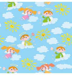 pattern angels and suns vector image vector image