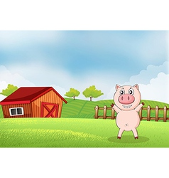 A pig in the farm with a barn vector image
