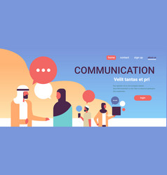 arabic people chat bubbles communication speech vector image