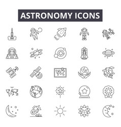 astronomy line icons for web and mobile design vector image