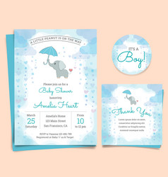 Baby shower invitation card with elephant vector