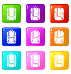 backpack icons set 9 color collection vector image