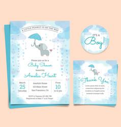 Bashower invitation card with elephant vector