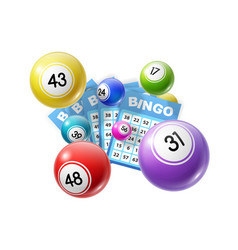 Bingo lottery balls and lotto cards lucky numbers vector