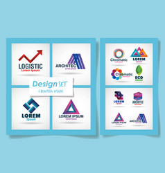 Brands set over blue background design vector