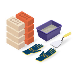brick gloves spatula mortar isometric vector image