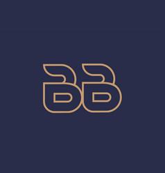 Brown blue line alphabet letter bb b b logo vector