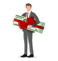 businessman holding holding dollar bundle vector image