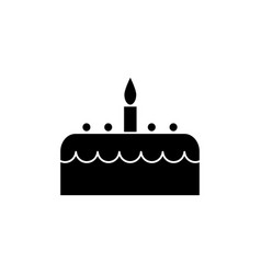 cake with candle icon black vector image