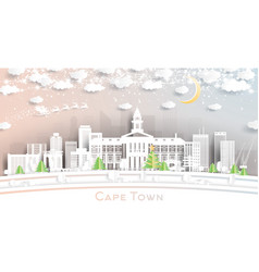 Cape town south africa city skyline in paper cut vector