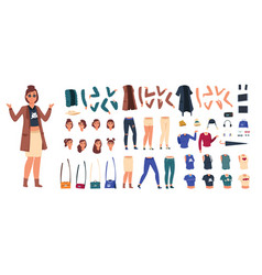 cartoon character constructor woman in casual vector image