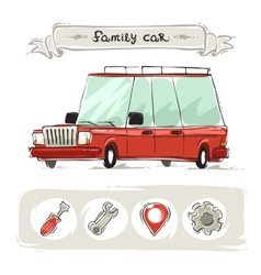 Cartoon Family Old Car Set vector