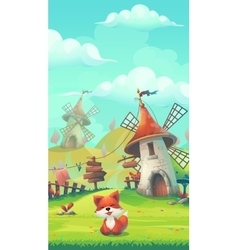 Cartoon little fox in a meadow under the Mill vector