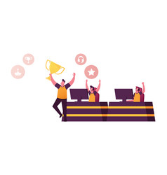 cheerful gamers celebrate win in cybersport vector image