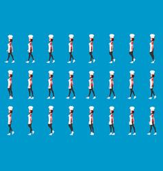 chef girl walk cycle animatio sequence loop vector image