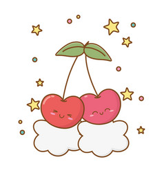 Cherries and clouds vector