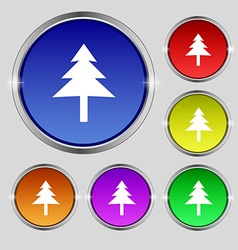 Christmas tree icon sign Round symbol on bright vector image