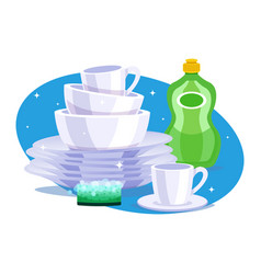 Clean dishes composition vector