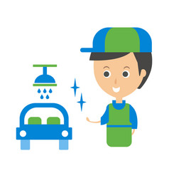 Cleanup service worker and clean car cleaning vector