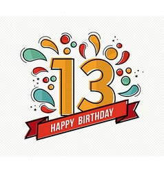 Colorful happy birthday number 13 flat line design vector image