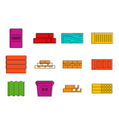 construction material icon set color outline vector image