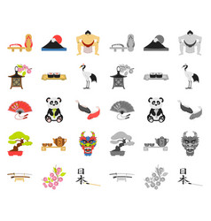 Country japan cartoonmono icons in set collection vector