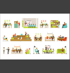Coworking workplace freelancers sharing space and vector