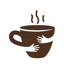 Creative coffee or tea cup and hands logo design vector